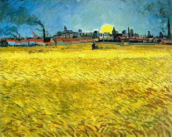 Coucher de soleil dans les champs de blé, Arles, juin 1888