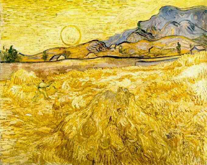 Champs de blé avec un faucheur et soleil, fin juin 1889